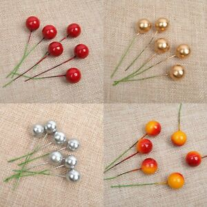 50 Christmas Display Artificial RED GOLD SILVER Holly Berry Wreath Decorations
