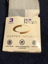 Copper Fit High Performance Unisex Sport Socks, Small/Medium 3 PAIRS 5-9/6-10