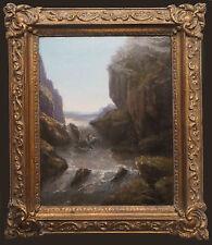 Tableau XIX° siècle Paysage crépusculaire de montagne avec torrent + cadre