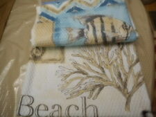 SEASIDE VILLA CHEVRON BEACH SHOWER CURTAIN AQUA-BLUE TEAL BROWN WHITE NEW