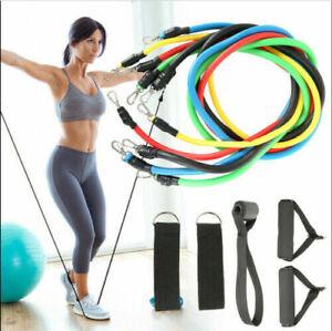 11pcs Widerstandsbänder Set w/Übung Tür Anker 5 stapelbare Bänder für Workout
