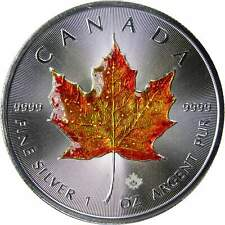 2018 Canadian Maple Leaf $5 1 oz .9999 Pure Silver Coin Colorized Enamel Overlay