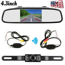 "4.3"" LCD Monitor Car Wireless Back Up Camera Kit Rear View Mirror Night Vision"