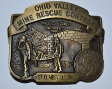 Vintage 1986 Ohio Mine Rescue Contest Miners MINT Solid Brass Belt Buckle RARE