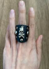 Adjustable New Punk Metal Goth Fashion Ring Man Woman Black With Skull