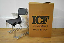 NEW - ICF 'Stick Skid' Sled Base Stackable Office Visitor Chairs Set of 3 Boxed