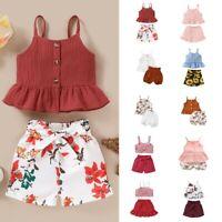 Infant Toddler Kids Baby Girl Crop Tops Shorts Floral/Solid Outfits Sets Sunsuit