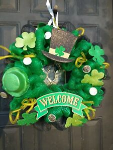 "St patricks day door Wreath Handmade New  USA 18"" large wreath"