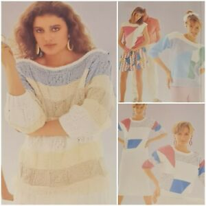 1980s Floral Boat Neck Graphic Batwing Summer Cotton Patons 775 Knitting Pattern