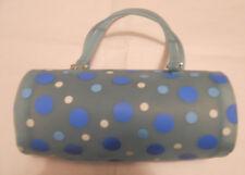 Tube Purse Hand Bag Turqoise with Blue & White Dots Vintage Medium Size