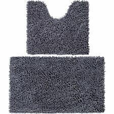 2 Microfiber Bathroom Contour Rugs Mats Soft Shaggy Non Slip - Toilet U Shape