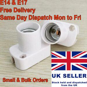 E14 E17 Light Bulb Socket Base White Rectangular Lamp Holder Edison Screw Wiring