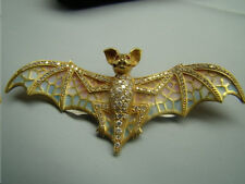 Incredible 18k gold Art Nouveau style Plique a Jour Bat Brooch with diamonds.