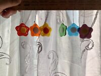 6 X Handmade  Rainbow Flowers Fused Glass Sun Catcher