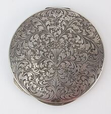Large Italian Finely Engraved .800 Sterling Silver Mirrored Compact Art Nouveau