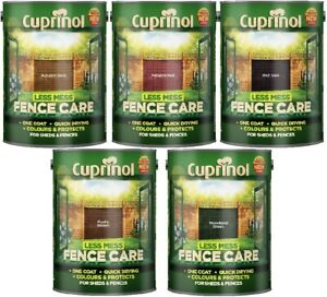 Cuprinol Less Mess Fence Care All Colours 5 Litre and 6 Litre