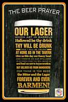 BEER PRAYER METAL SIGN 8X12 MAN CAVE FUNNY BAR DRINKING DECOR HUMOR GARAGE