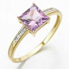 Jewelry Size 7 Luxury 10K Gold Filled Amethyst Women Engagement Anniversary Ring