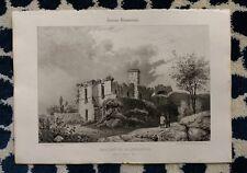 Lithographie XIXème - Château de Roquelaure - Gers - Aumont - J. Philippe
