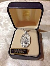"""""""ST. MICHAEL"""" STERLING SILVER Oval  Medal 20"""" Chain Boxed SS927-39 by CREED *NEW"""