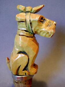 Schnauzer Hund Terrier Holz-Zierkorken -  Carved Wood Bottle Stopper Dog Scottie