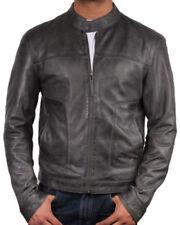 Cappotti e giacche da uomo Bomber, Harrington grigio in pelle