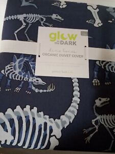 NWT Pottery Brn Kds Glow In The Dark Dino Bones Duvet Cover/Full-Queen/Blue$119