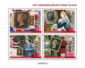 Central African Penny Black Stamps 2020 MNH SOS Queen Victoria Royalty 4v Set
