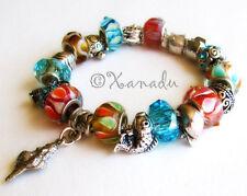 Marine Life European Charm Bracelets w Ocean Animal Charms, Turquise Glass Beads