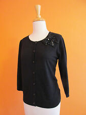 New August Silk Womens Size M Black Bow Embellished 3/4 Sleeve Cardigan Sweater