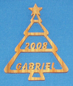 Personalized Christmas Tree w/ Year Ornament - hand cut