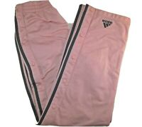 VTG Adidas SMALL PINK 3 Stripe Side Snap Tapered Leg Joggers Track Pants
