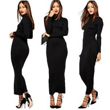 Womens Turtle Neck Evening Cocktail Stretch Tunic Maxi Dress Casual BLACK SMALL