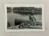 Shirtless Man With Boxer Dog Canine Vintage B&W Photograph Snapshot 3.25 x 4.5