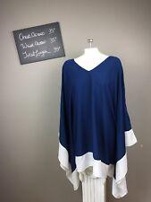 Womens Mudpie Navy Blue Shawl Kimono Dress Open Shoulder L NEW Beach Convertible