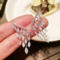 Gorgeous 925 Silver Drop Earrings for Women White Sapphire Jewelry Gift A Pair