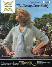 ~ Lister-Lee Knitting Pattern For Lady's Lovely Lacy Tie-Neck Mohair Sweater ~