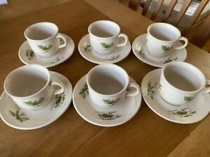 Poole Country Lane set of 6 Coffee Cups and Saucers