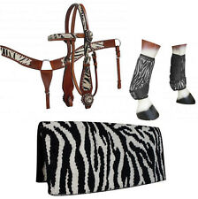 WESTERN SADDLE HORSE ZEBRA WOOL SADDLE BLANKET + LEATHER TACK SET BLING !
