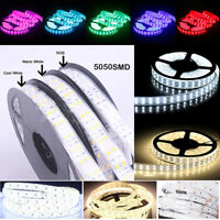 5M 16.4ft 12V SMD White 5050 3528 Waterproof 600 LED Double Row Tube Strip Light