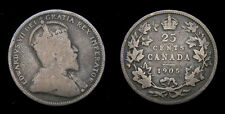 Canada 1905 Silver 25 Twenty-Five Cents VG-8 Toned King Edward VII