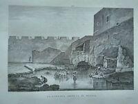 1845 Zuccagni-Orlandini La Fontana Aretusa in Sicilia Isola di Ortigia