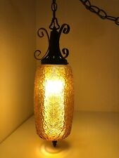 Vintage MCM Amber Wrought Iron Swag Hanging Lamp