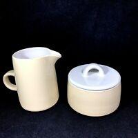 Vintage Dansk Bornholm Beige Covered Sugar Bowl and Creamer