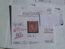 MONTSERRAT RED 1D F/U- G/U  STAMP SG1