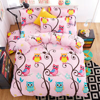 Cartoon Owls Print Kid's Girl Pink Duvet Cover Sets King Queen Twin Beddings
