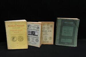 Lot de  4 livres anciens à caractère numismatique J G de Villefaigne, Ciani...