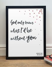 More details for the beach boys god only knows - personalised framed lyrics valentines day gift
