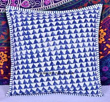 Indian Handmade Blue Abstract Cushion Cover Block Printed Pillow Case Ethnic Art