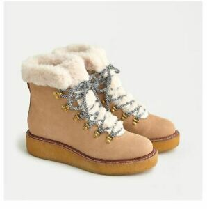 J.Crew Wedged Ankle Boots Nubuck Crepe 10 Beige Round Toe Faux Fur Lace-Up NWBOX